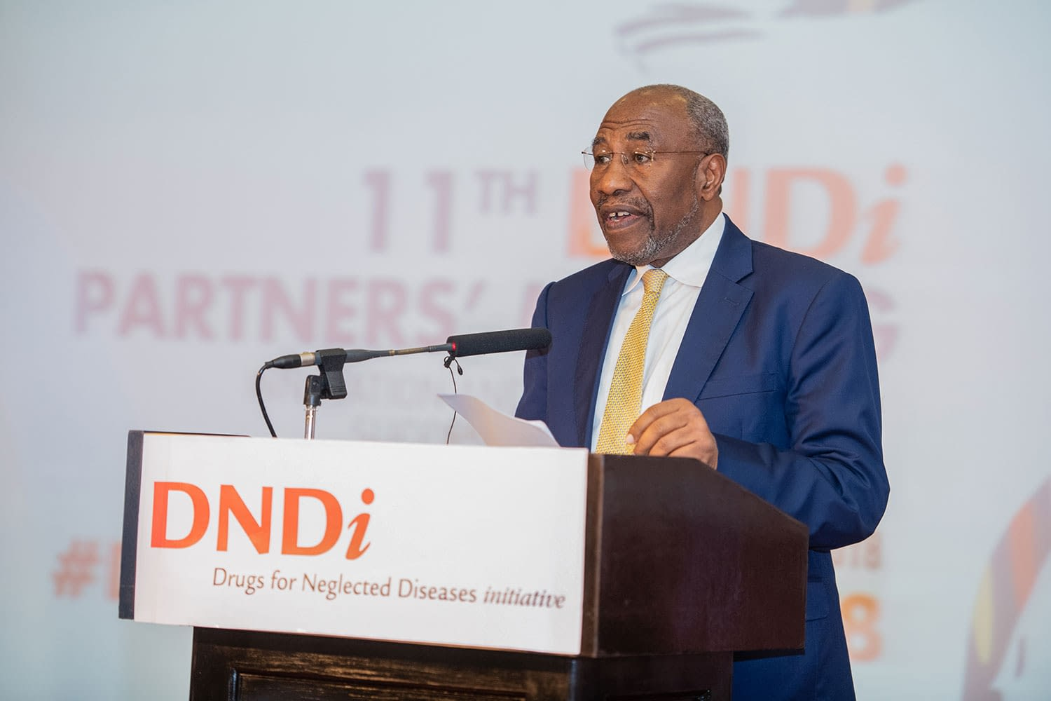 The Rt. Hon. Dr Ruhakana Rugunda, Prime Minister, Uganda making his official remarks during the opening ceremony of the DNDi 11th Partners' Meeting