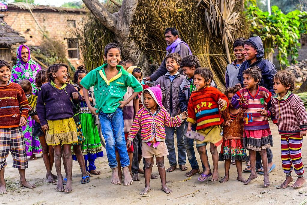 Children in India smiling