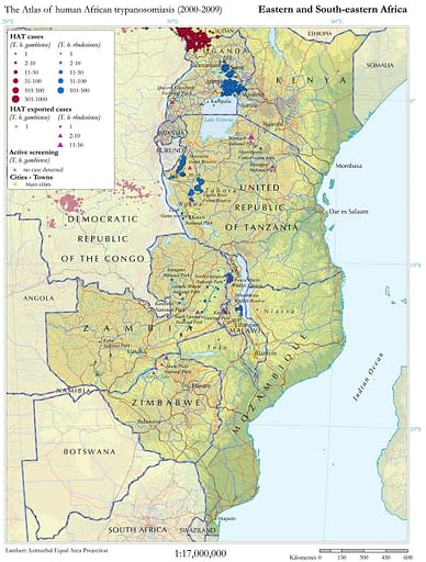 Cases of human African trypanosomiasis reported from Eastern and South-eastern Africa (period 2000-2009)