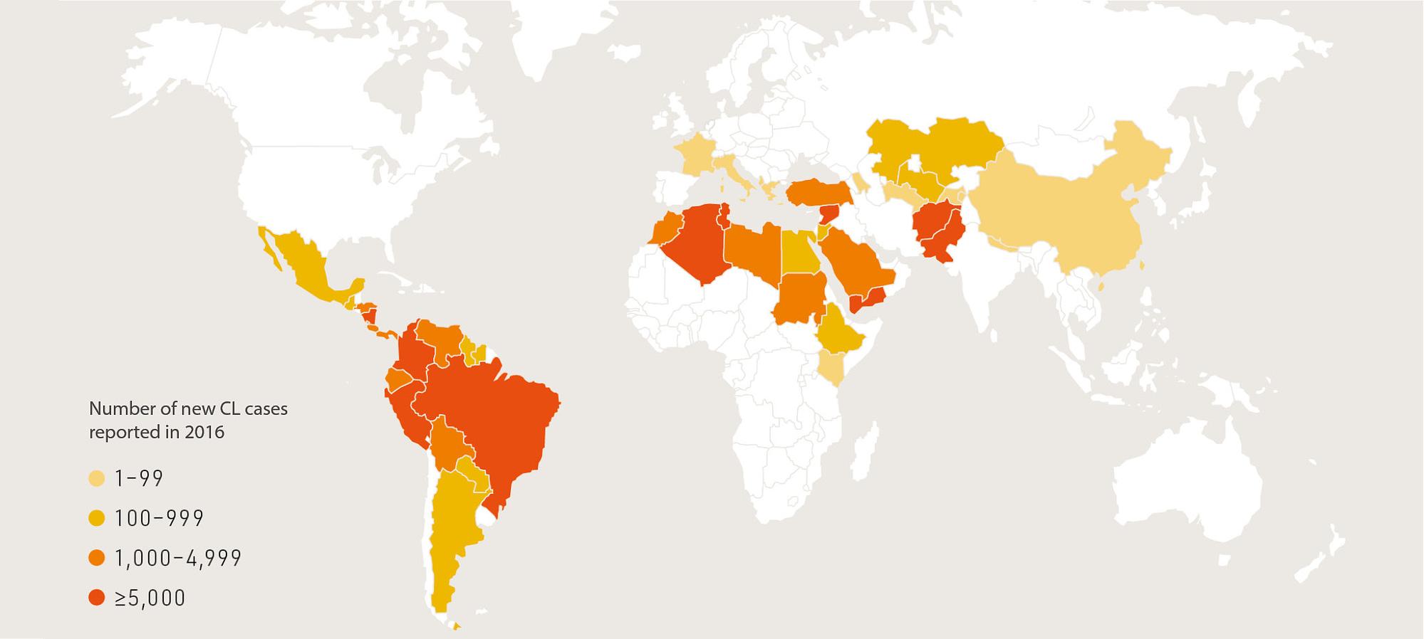 Cutaneous leishmaniasis epidemiology map