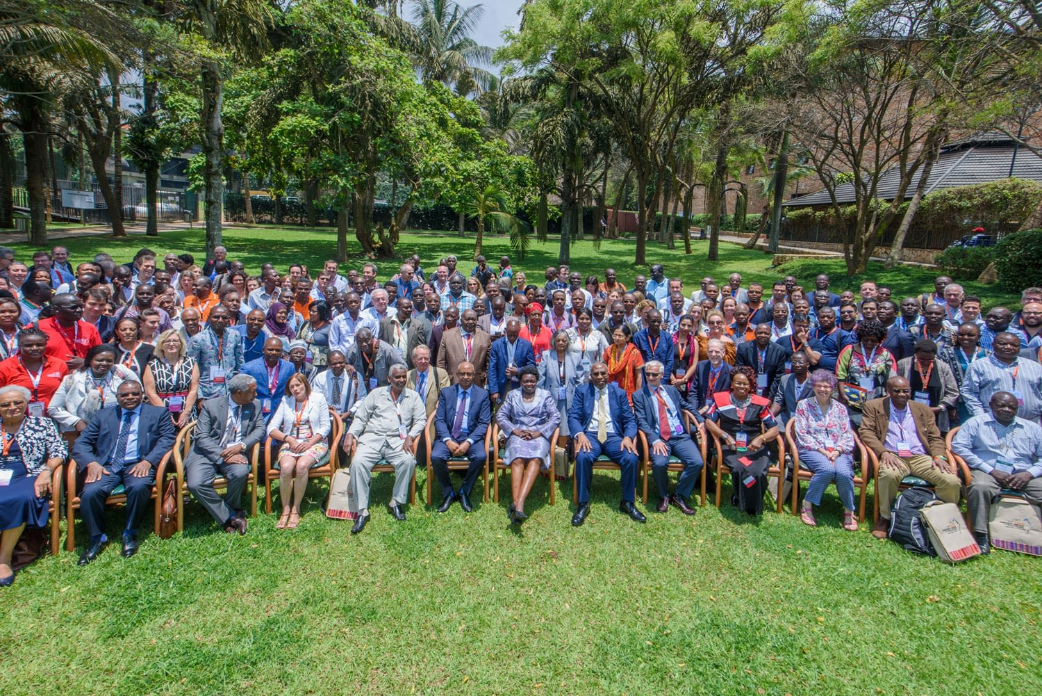 Uganda's Prime Minister, The Rt. Hon. Dr Ruhakana Rugunda and government delegation joins participants in a group photo.