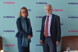 Belén Garijo, Member of the Executive Board of Merck and CEO Healthcare, and Bernard Pécoul, DNDi Executive Director