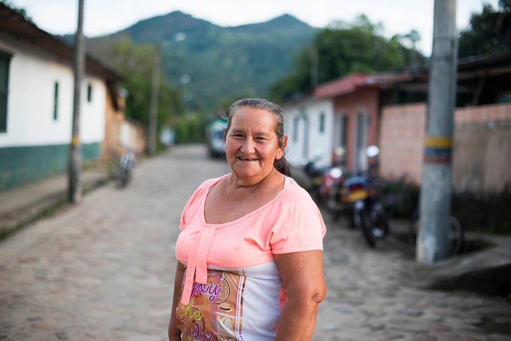 Woman standing in a street in Colombia