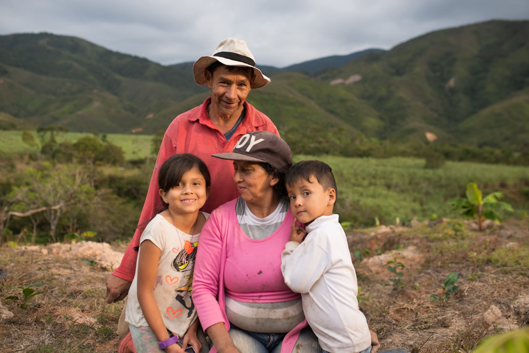 Family in a rural setting in Colombia