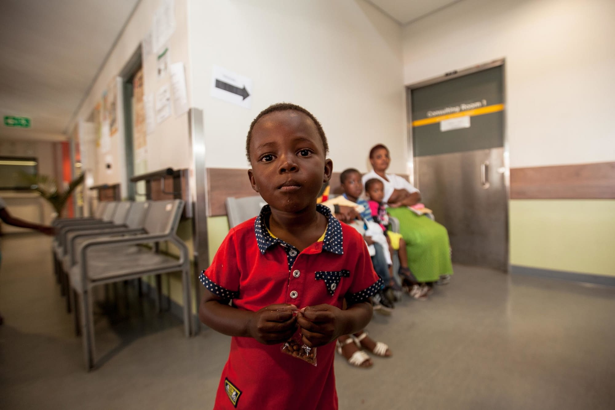 Little boy looking at the camera in a hospital