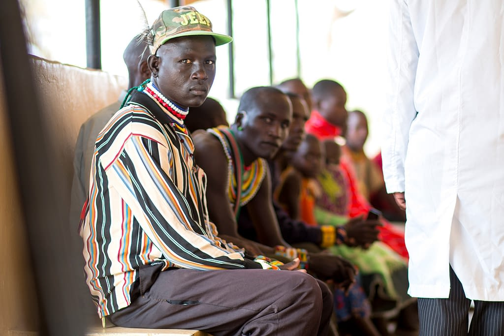Visceral leishmaniasis patient waiting to see a doctor in West Pokot, Kenya