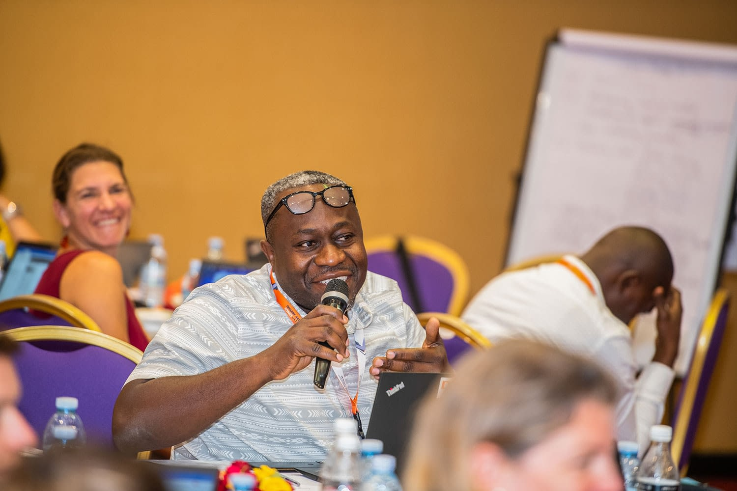 Dr Wilfried Mutombo, of the HAT platform, raises a point during the clinical trial training meeting.