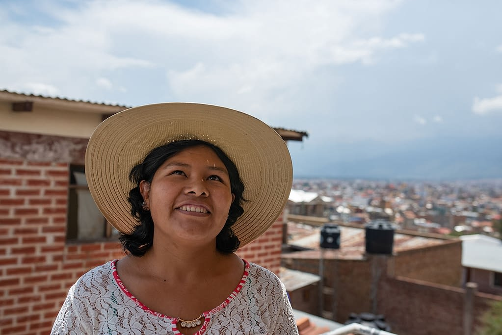 Chagas patient looking up smiling