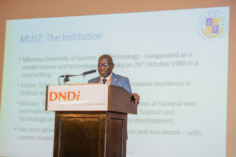 Prof. Celestino Obua of Mbarara University Uganda giving a presentation on enhancing medical research capacities in Eastern Africa.