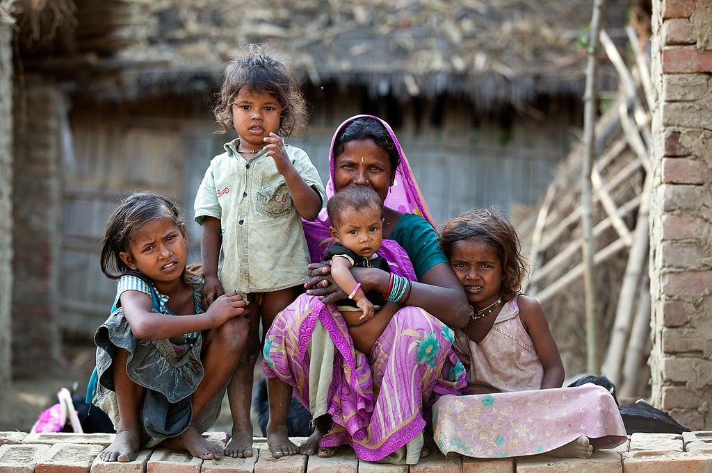 Mother in India with her kids