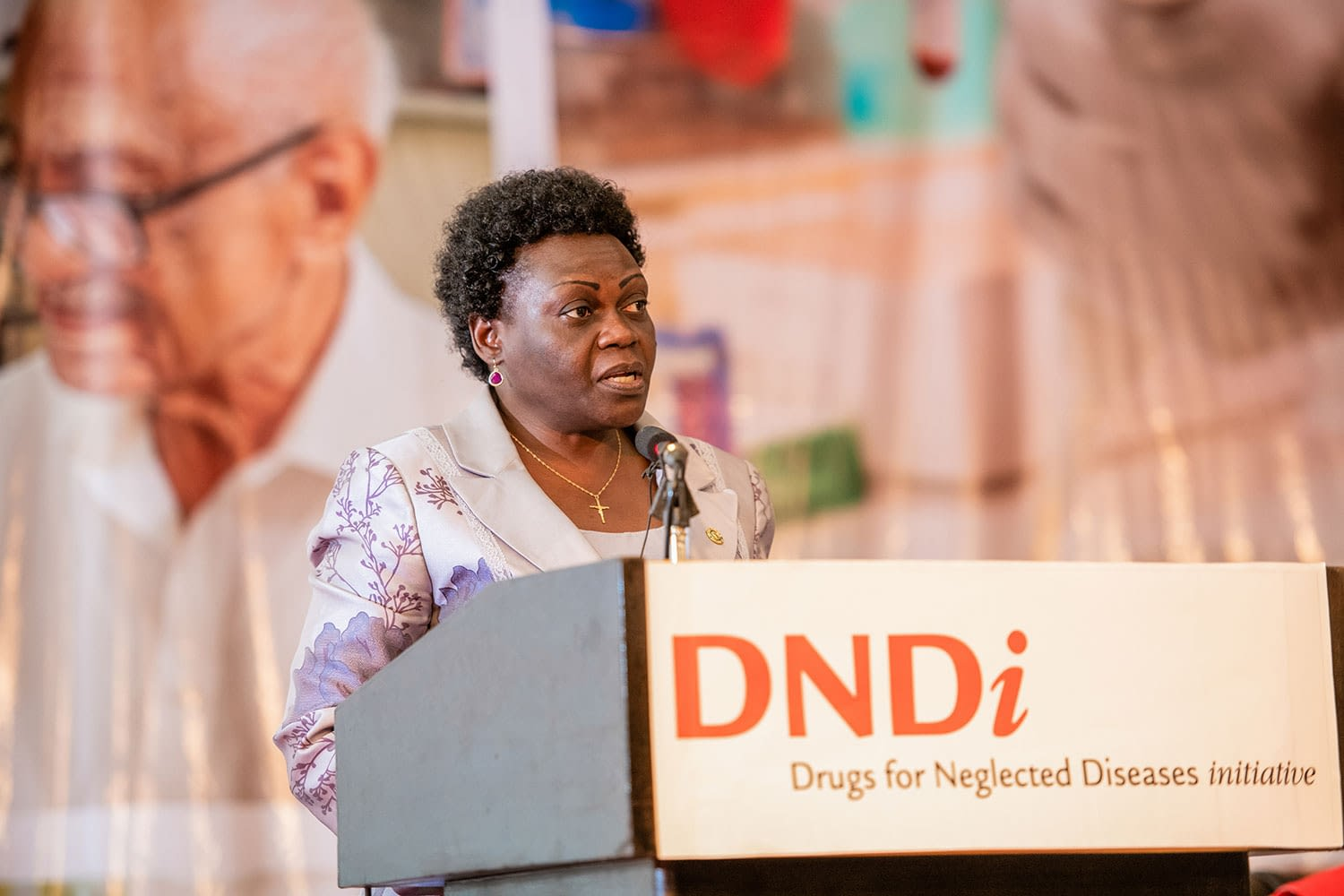 Hon. Sarah Opendi, Uganda's Minister of State for Health, gives a speech about the role of partnership networks in helping to combat neglected diseases in Uganda.