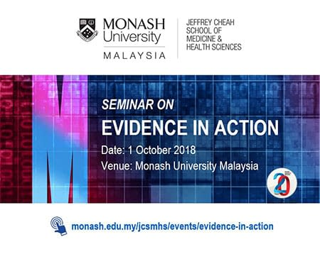 Flyer of the Seminar Evidence in Action by the Monash University