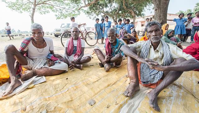 A group of LF affected older men at a camp in Madhuban Gram Panchayat, Satyavadi Block in Puri district, Odisha, India