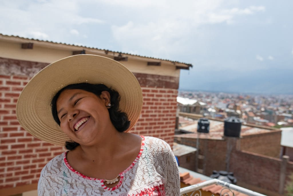 Woman in Bolivia smiling