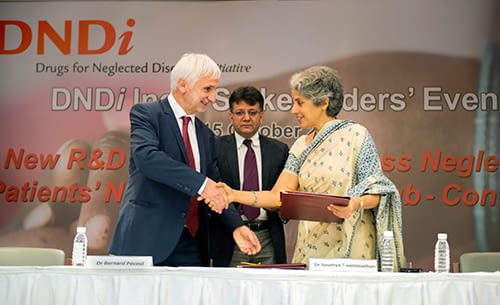 MOU signing between the Indian Council of Medical Research, (ICMR) and the Drugs for Neglected Diseases initiative (DNDi) Dr Bernard Pécoul, Executive Director, DNDi Geneva (left), Dr Suman Rijal, Head, DNDi India (middle) and Dr Soumya Swaminathan, Secretary, Department of Health Research and Director General, ICMR (right).