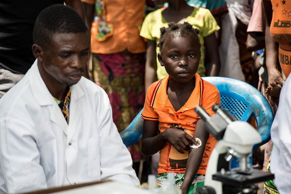 Girl after being tested for sleeping sickness by mobile team